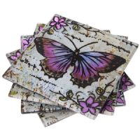 Set 4 Lavender Grey Butterfly Glass Drink Coasters